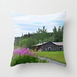 Pioneer Cabin - Alaska Throw Pillow