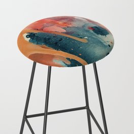 Pour Some Sugar on Me: a colorful mixed media abstract in pinks blues orange and purple Bar Stool