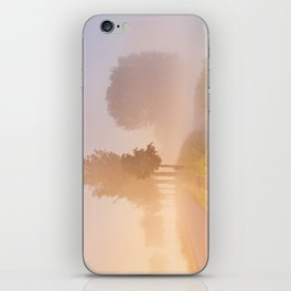 Foggy sunrise in typical polder landscape in The Netherlands iPhone Skin