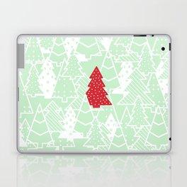 Elegant Green Christmas Trees Holiday Pattern Laptop & iPad Skin