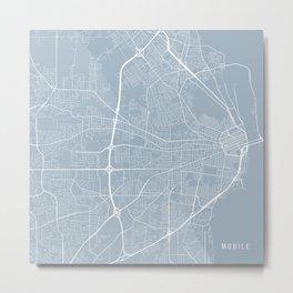 Mobile Map, USA - Slate Metal Print