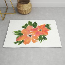 Loose Floral Watercolor Blooms Rug