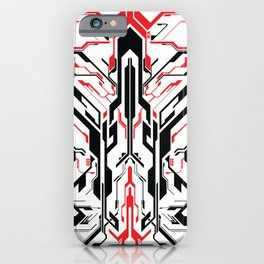 Black and Red Futuristic Symmetrical Abstract iPhone Case