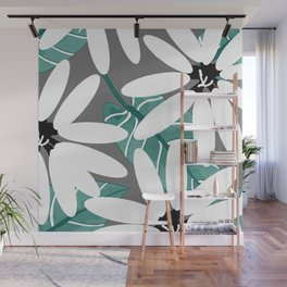 Large Flowers and Leaves - White and Green on Grey #decor #society6 #buyart Wall Mural
