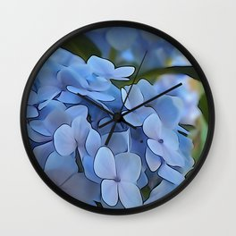 Periwinkle Hydrangea Wall Clock