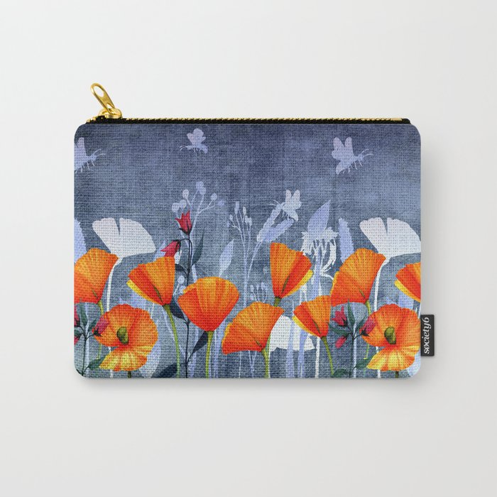 Summer night- Shadow of a Poppy meadow- Flowers Carry-All Pouch