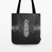 bass Tote Bags featuring Bomb Bass by Manny Peters Art & Design