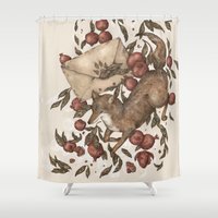 letters Shower Curtains featuring Coyote Love Letters by Jessica Roux
