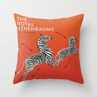 royal tenenbaums Throw Pillows featuring Margot's Wallpaper / The Royal Tenenbaums / Wes Anderson by David Ramsay, Jr.