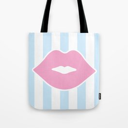 Pastel Lips with Stripes Tote Bag