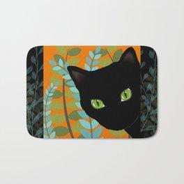 Black Kitty Cat In The Garden Bath Mat