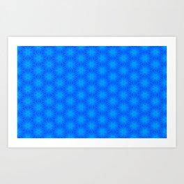 Bright blue on blue star pattern design Art Print