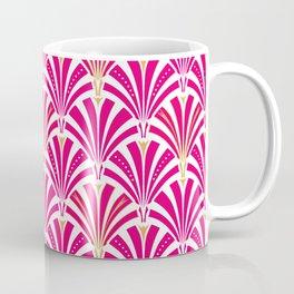 Art Deco Fan Pattern, Fuchsia Pink and White Coffee Mug