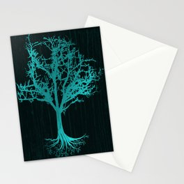 Magical Tree At Night Nature Design In Blue Stationery Cards