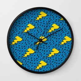 90's Retro Blue and Yellow Lightning Bolt Pattern Wall Clock
