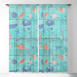 Blue & Orange Under the Sea Sheer Curtain