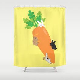 Giant Carrot and Bunnies Shower Curtain