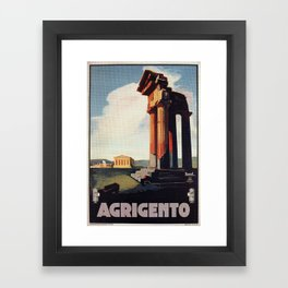 Vintage 1920s Agrigento Italian travel ad Framed Art Print