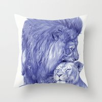 lions Throw Pillows featuring Lions by Rafael Augusto