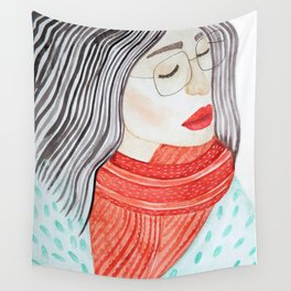 Beautiful lady with closed eyes in a red scarf wearing eyeglasses. Watercolor illustration. Wall Tapestry