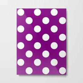 Large Polka Dots - White on Purple Violet Metal Print
