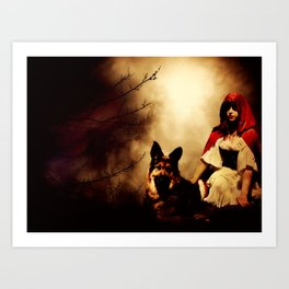 Red and Her Wolf Art Print