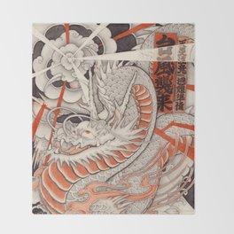 Japanese tattoo Typhoon dragon Throw Blanket