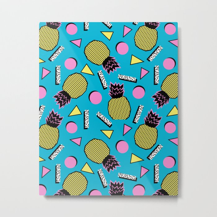 Primo - memphis retro throwback 1980s 80s neon style pop art wacka designs pineapple tropical fruit Metal Print