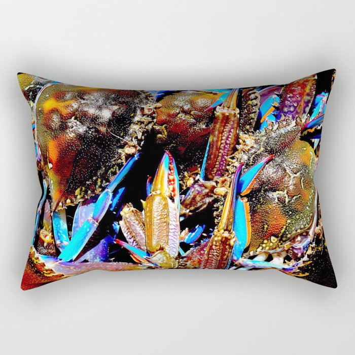 bright Blue swimmer crabs, Whyalla, South Australia Rectangular Pillow