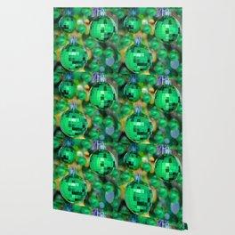 Green Christmas decoration balls Wallpaper