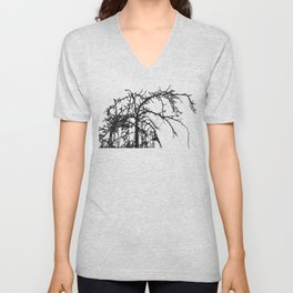 Deadly tree silhouette on cloudy background Unisex V-Neck