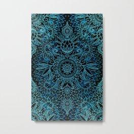 Black & Aqua Protea Doodle Pattern Metal Print