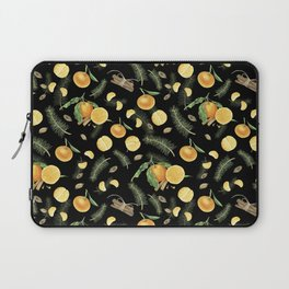 Tangerines and spices on black background Laptop Sleeve
