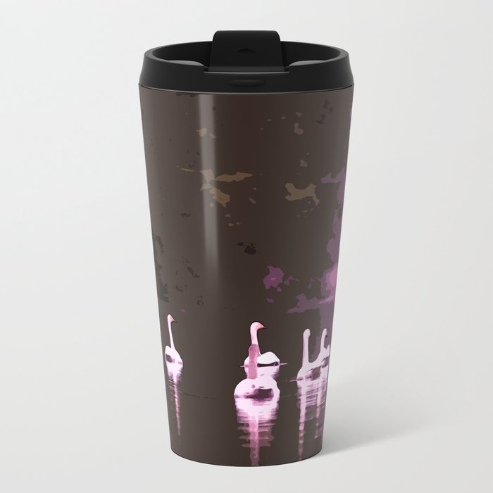 Beautiful reflection in the lake surface - shades of light pink to dark Metal Travel Mug