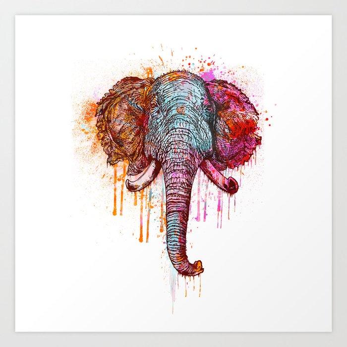 Watercolor Elephant Head Art Print By Lebensart Society6