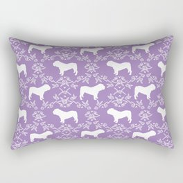 English Bulldog silhouette florals purple and white minimal dog breed pattern print gifts bulldogs Rectangular Pillow