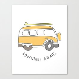 The Surf Life | Yellow Adventure Bus Canvas Print
