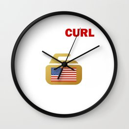 USA Curling with America Flag - Miracurl on Ice Wall Clock