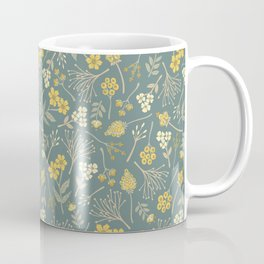 Yellow, Cream, Gray, Tan & Blue-Green Floral Pattern Coffee Mug