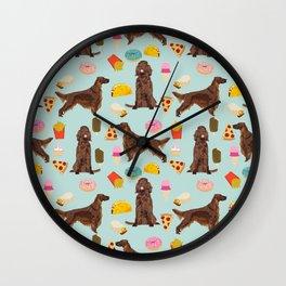 Irish Setter junk food pizza donuts dog breed cute custom pet portrait for dog lovers Wall Clock