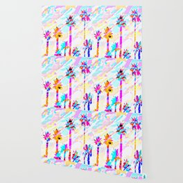 palm tree with colorful painting texture abstract background in pink blue yellow red Wallpaper