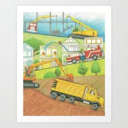 Trucks at Work Art Print
