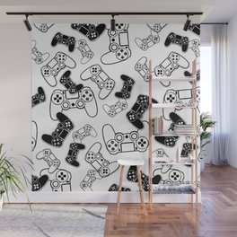 Video Games Black on White Wall Mural