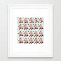 pigs Framed Art Prints featuring Pigs by Dora Birgis