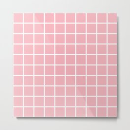 Coral Grid Pattern 2 Metal Print