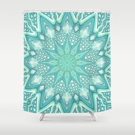 Burst Mandala Turquoise Shower Curtain