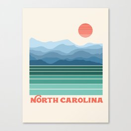 North Carolina - retro travel poster 70s style throwback minimalist usa state art Canvas Print