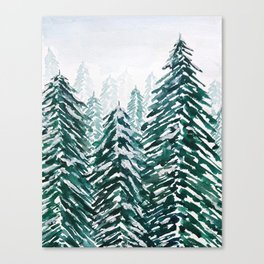 snowy pine forest in green Canvas Print
