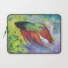 Rainbow Beta Fish Original Watercolor Painting Abstract Fish Art Beta Tropical Fish Painting Laptop Sleeve