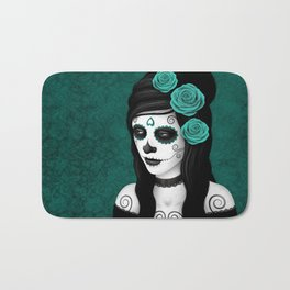 Day of the Dead Sugar Skull Girl with Teal Blue Roses Bath Mat